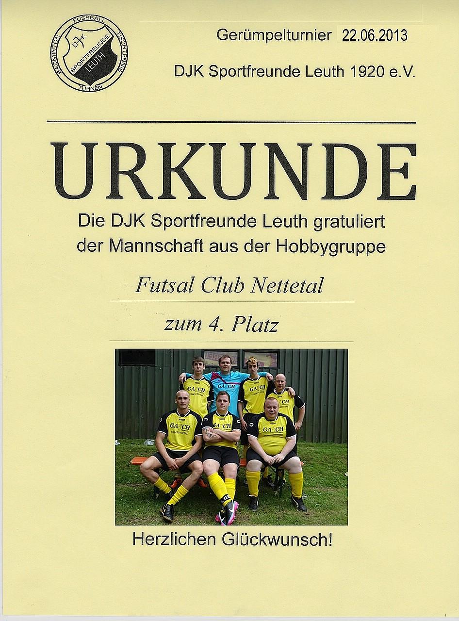 Urkunde – Turnier in Leuth 2013   Futsal Club